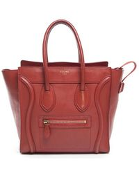Celine Preowned Red Leather Micro Luggage Tote Bag - Lyst