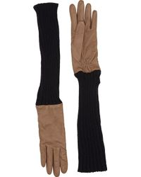 Barneys New York Brown Extended-Cuff Gloves - Lyst