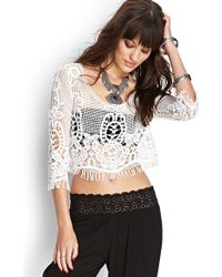 Forever 21 Crocheted Crop Top - Lyst