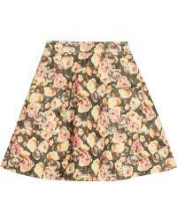 Markus Lupfer English Rose Charlotte Wool Blend Mini Skirt - Lyst
