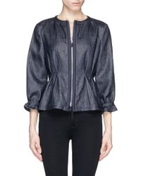 Armani Basketweave Pintuck Jacket blue - Lyst