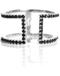 MaLi Beads   Brielle .925 Black Cz Gold Plated Bar Ring   Lyst