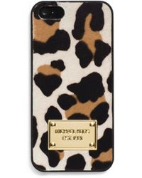 Michael Kors Mara Leopard Hair Calf Phone Case - Lyst