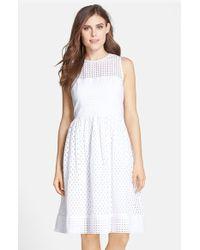 Eliza J Cotton Eyelet Fit & Flare Dress - Lyst