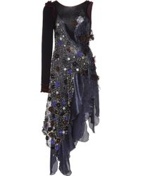 Rodarte Navy and Black Lame Onesleeve Dress with Hand Embroidered Lace and Swarovski Crystals - Lyst