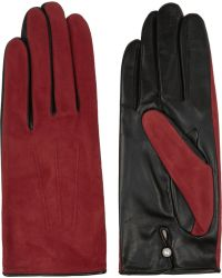 Agnelle Silk-lined Suede and Leather Gloves - Lyst