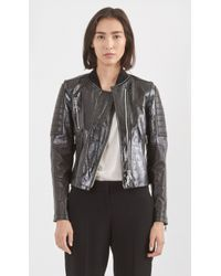 Theory Shezi Polished Leather Jacket black - Lyst