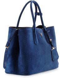 Prada Suede Medium Double-pocket Tote Bag - Lyst