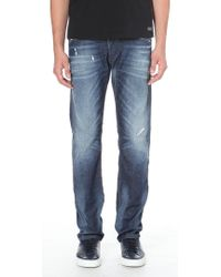 Diesel Belther Tapered Mid Rise Stretch Denim Jeans Blue - Lyst