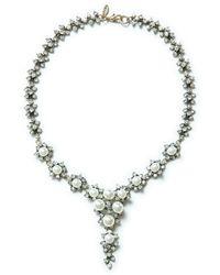 Zara Silver Crystal Necklace - Lyst