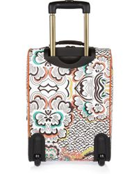 River Island - Orange Print Wheelie Suitcase - Lyst