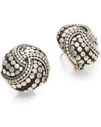 John Hardy Dot Sterling Silver Button Earrings - Lyst