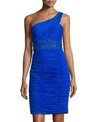 Sue Wong One-shoulder Pleated Short Dress - Lyst