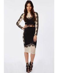 Missguided Lace Mesh Midi Skirt Black - Lyst