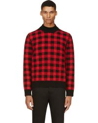 Saint Laurent Black and Red Gingham Check Sweater - Lyst