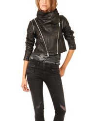 Yigal Azrouel Crocodile Cropped Leather Jacket - Lyst