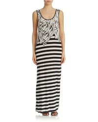 Kensie Banana-Print Striped Maxi Dress - Lyst