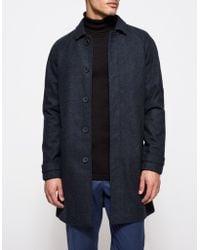 Topman | Blue Single Breasted Wool Mac | Lyst