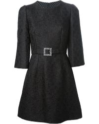 Dolce & Gabbana Embossed Flower Dress - Lyst