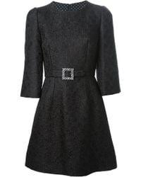 Dolce & Gabbana Embossed Flower Dress - Lyst