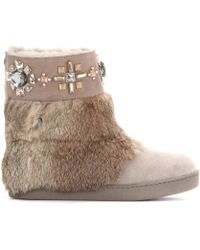Tory Burch Curran Embellished Suede Boots with Fur - Lyst