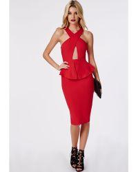 Missguided Ruben Cross Over Peplum Dress Red - Lyst