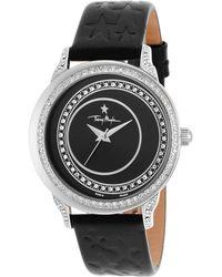 Thierry Mugler Women'S Black Genuine Leather Black Dial black - Lyst