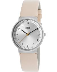 Braun - Women's Classic Beige Genuine Leather Silver-tone Dial - Lyst