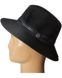 Vince Camuto Faux Leather Brimmed Panama - Lyst