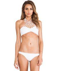 Mikoh Swimwear Kahala Front Criss Cross Halter Top - Lyst