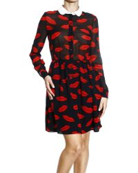 Saint Laurent Sshirtto Georgette Print Bocca Dress - Lyst