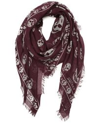 Alexander McQueen Purple and Gray Woven Skull-printed Scarf - Lyst