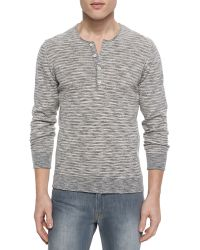 7 For All Mankind Striped Knit Long-Sleeve Henley Shirt - Lyst
