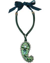 Lanvin Long Crystal Paisley Pendant Ribbon Necklace - Lyst
