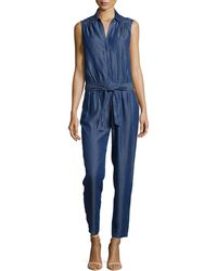 Trina Turk Sleeveless Jumpsuit W Tie Belt - Lyst