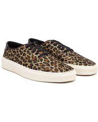 Saint Laurent Metallic Leopard-Print Low-Top Sneakers - Lyst