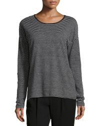 Vince Striped Long-Sleeve Linen Tee - Lyst
