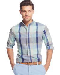 Tommy Hilfiger Red Sand Plaid Custom-Fit Shirt - Lyst