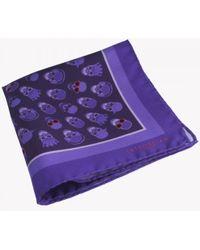 Tateossian - Skull Patterned Silk Pocket Square In Purple - Lyst