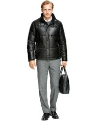 Brooks Brothers Leather Down Jacket - Lyst