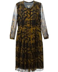 Burberry Brit Floral Print Pleated Dress - Lyst