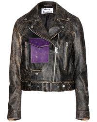 Acne Studios Saxe Leather Biker Jacket - Lyst