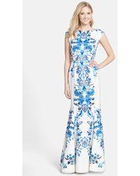 Eliza J Print Crepe De Chine Mermaid Gown - Lyst