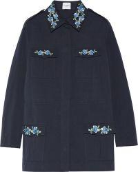 Vilshenko | - Dawn Embroidered Cotton-gabardine Jacket - Navy | Lyst