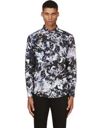 MSGM Blue and Purpled Marbled Print Shirt - Lyst