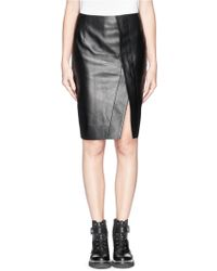 Acne Studios Kay Asymmetric Split Front Leather Pencil Skirt - Lyst