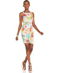 Spense Petite Floral Bodycon Scuba Dress pink - Lyst