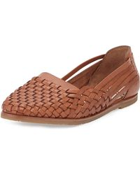 Sam Edelman Adera Woven Leather Flat Deep Saddle Brown 8b - Lyst
