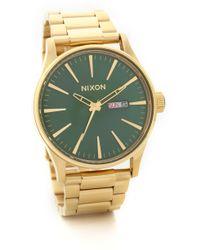 Nixon Sentry Ss Watch - Goldgreen - Lyst