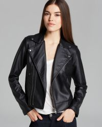 Guess Jacket Faux Leather Moto Crop - Lyst